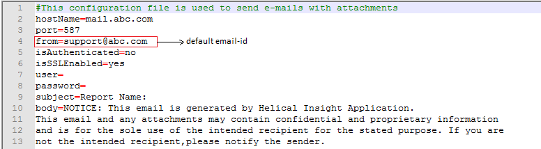 default email configure setting