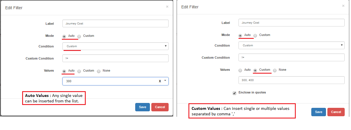 Not Equals in Auto Mode