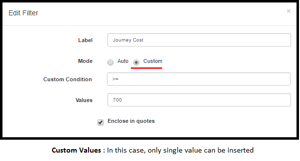 greater than equal to Custom Mode
