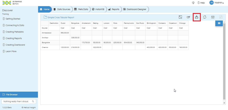 Exporting Report